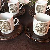 """Винтаж handmade. Livemaster - original item Набор чашек с блюдцами для кофе, """"Мастера"""",  Германия. Handmade."""