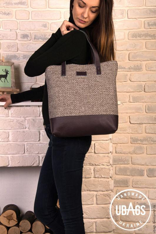 Женские сумки ручной работы. Ярмарка Мастеров - ручная работа. Купить Женская сумка из кожи и текстиля. Handmade. Комбинированный, сумка