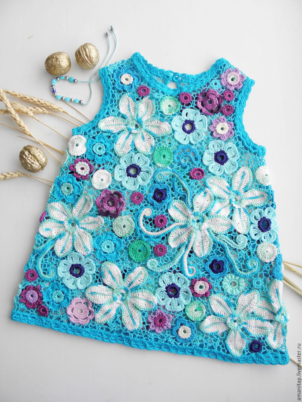 dede958d77c Платье для девочки Мои ситцы ирландское кружево детское вязание ...