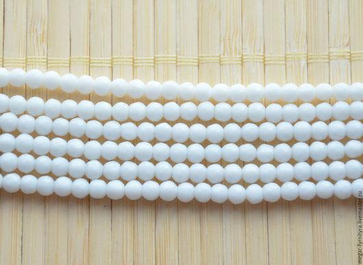 Для украшений ручной работы. Ярмарка Мастеров - ручная работа. Купить Нефрит бусина 4 мм, нить 38 см. Белый. Handmade.