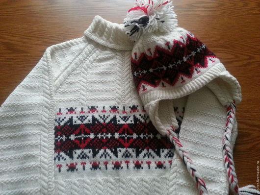 Кофты и свитера ручной работы. Ярмарка Мастеров - ручная работа. Купить Вязаный комплект - свитер и шапка. Handmade. Белый