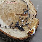 """Украшения ручной работы. Ярмарка Мастеров - ручная работа Колье """"Куропаточка"""" лэмпворк & медь. Handmade."""