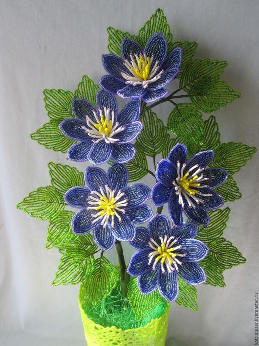 Цветы ручной работы. Ярмарка Мастеров - ручная работа. Купить Клематис. Handmade. Синий, бисерные цветы, проволока медная