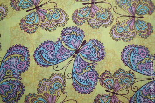 Шитье ручной работы. Ярмарка Мастеров - ручная работа. Купить 1290 Бабочки. Американская ткань. Handmade. Лимонный, бабочки