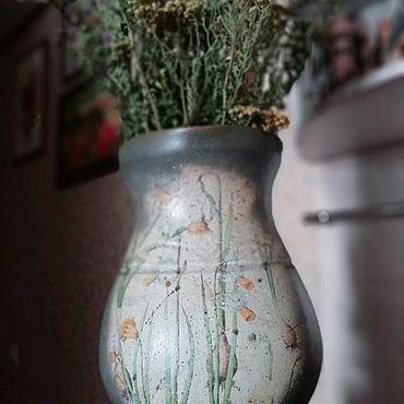 Посуда ручной работы. Ярмарка Мастеров - ручная работа Серый керамический кувшин ваза БОТАНИКА ЦВЕТЫ НАРЦИССЫ. Handmade.
