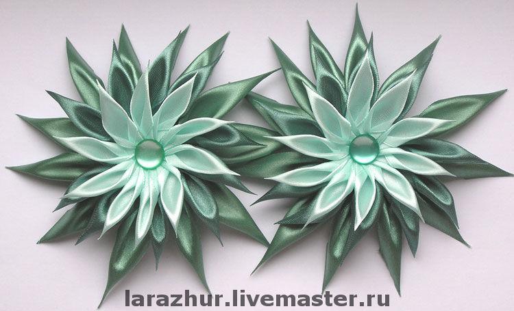 Астры цветы из атласных лент видео