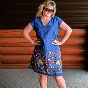 Одежда handmade. Livemaster - original item Summer dress in small peas with voluminous embroidery.. Handmade.