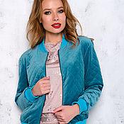 Одежда handmade. Livemaster - original item Velour bomber jacket insulated turquoise. Handmade.