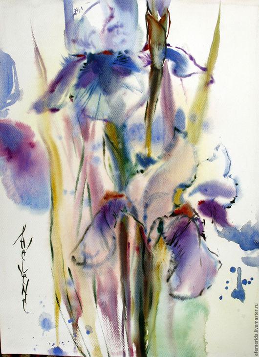 Картины цветов ручной работы. Ярмарка Мастеров - ручная работа. Купить акварель два ириса. Handmade. Бледно-розовый, голубой