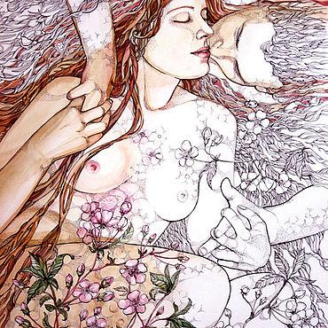 """Картины и панно ручной работы. Ярмарка Мастеров - ручная работа """"Вишня цветет"""". Handmade."""