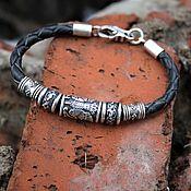 Украшения handmade. Livemaster - original item Raven braided leather bracelet beads 925 silver. Handmade.