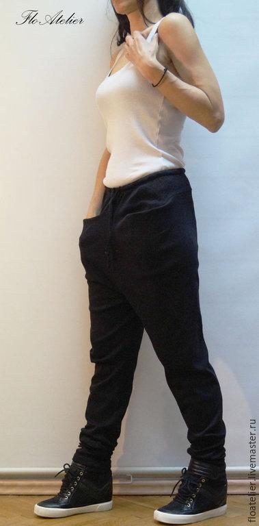 Брюки, шорты ручной работы. Ярмарка Мастеров - ручная работа. Купить Свободные и легкие повседневные шаровары/F1436. Handmade. Черный, шаровары