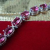"""Украшения ручной работы. Ярмарка Мастеров - ручная работа """"Нежные розы"""" браслет из розовых цирконов. Handmade."""