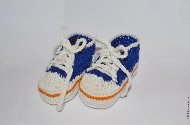 Пинетки-кеды, кроссовки вязаные для новорожденного ...
