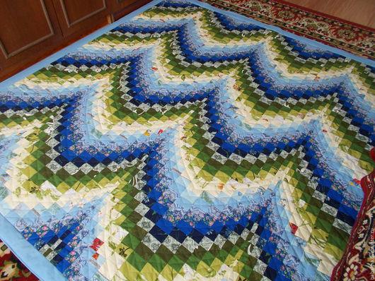 """Текстиль, ковры ручной работы. Ярмарка Мастеров - ручная работа. Купить Лоскутное покрывало """" Морская волна"""". Handmade. Комбинированный"""