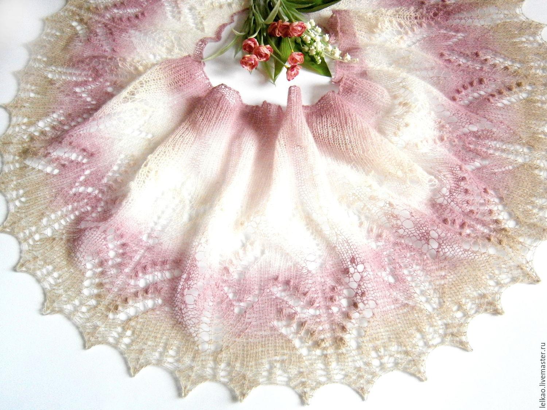 шарфик, шаль спицами, шаль-паутинка, шаль ручная работа, шарфик вязаный, шарф-паутинка, шарф женский, шаль из кауни, легкая шаль, розовый, весенние цветы