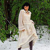 Одежда ручной работы. Ярмарка Мастеров - ручная работа Платье БОХО из мохера и кружева (№278). Handmade.
