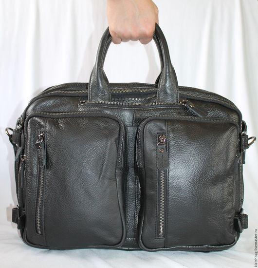 Мужские сумки ручной работы. Ярмарка Мастеров - ручная работа. Купить Мужская сумка-трансформер черного цвета (А-2). Handmade.