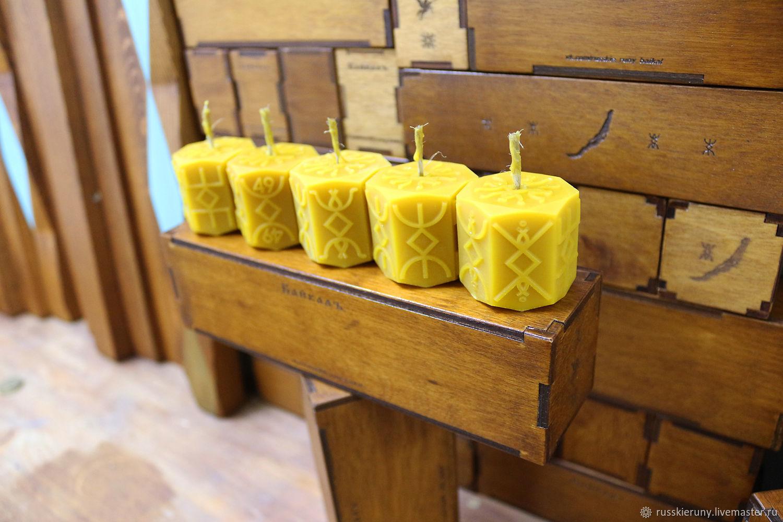 Свечи Сотковые с Русскими рунами набор в деревянной коробочке 5 свечей, Свечи, Иркутск,  Фото №1
