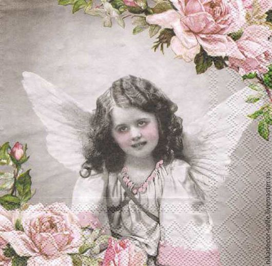 Декупаж и роспись ручной работы. Ярмарка Мастеров - ручная работа. Купить Ангел с розами (13309255) 33х33 салфетка для декупажа. Handmade.