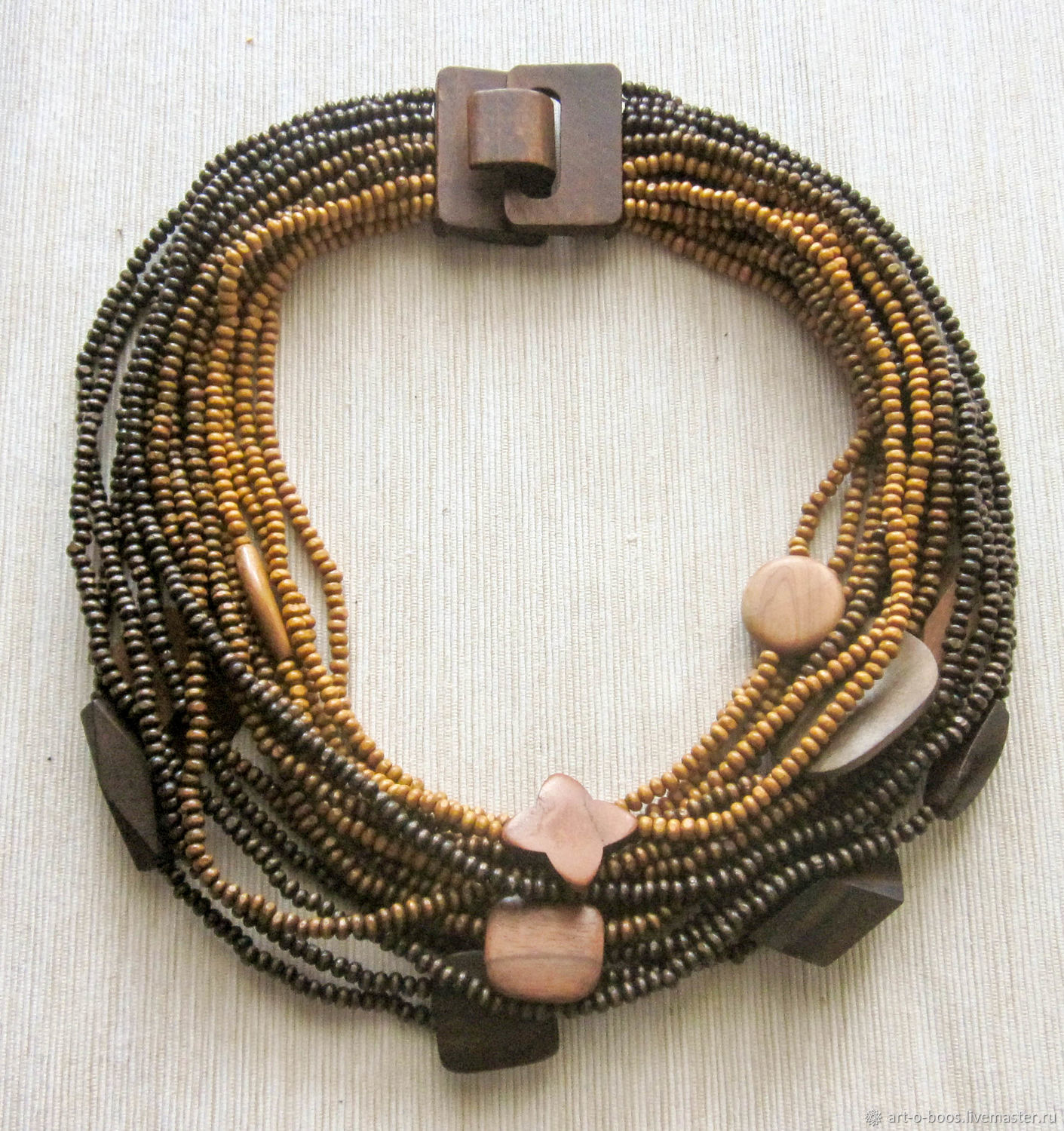 The wooden beads multi-row 'Three colors: dark', Necklace, Moscow,  Фото №1