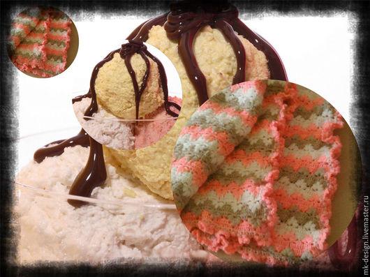 """Пледы и одеяла ручной работы. Ярмарка Мастеров - ручная работа. Купить плед детский """"клубничное мороженое"""", вязаный крючком совушка-подушка. Handmade."""