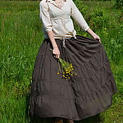 Одежда handmade. Livemaster - original item The skirt is tiered to floor brown. Handmade.