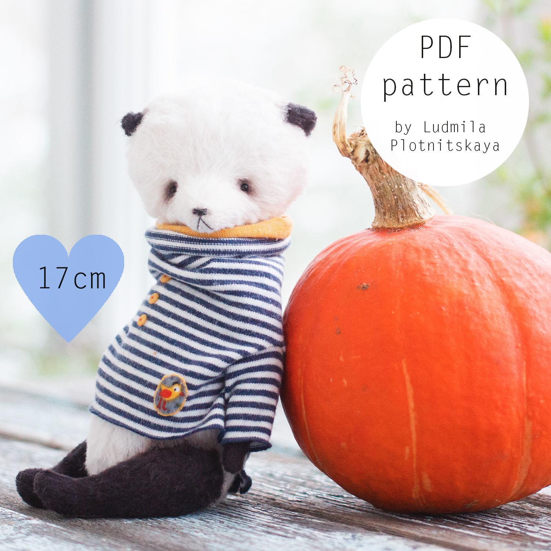 Выкройка мишки панды 17 см, выкройка панды, выкройка тедди панда, Выкройки для кукол и игрушек, Новосибирск,  Фото №1
