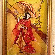 """Картины и панно ручной работы. Ярмарка Мастеров - ручная работа Картина на стекле """"Японка"""". Handmade."""