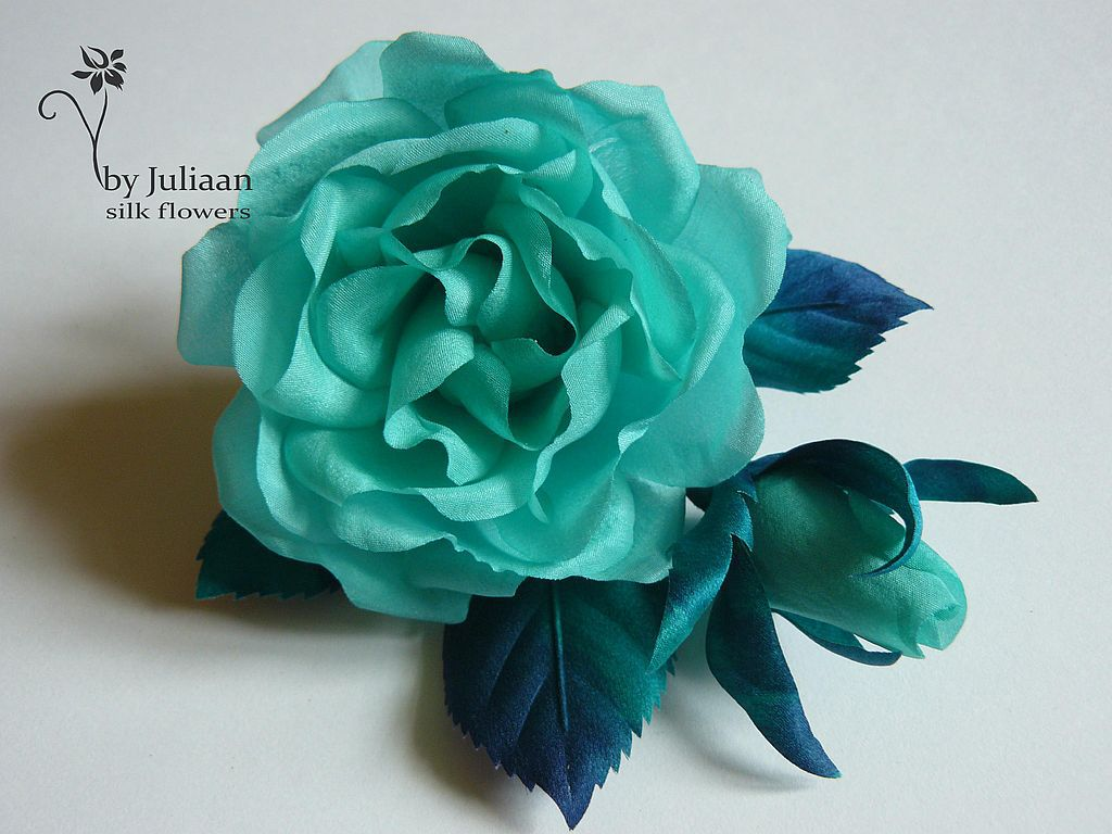 """Броши ручной работы. Ярмарка Мастеров - ручная работа. Купить Шелковая роза """"Мятная свежесть"""". Handmade. Цветы, стильное украшение"""