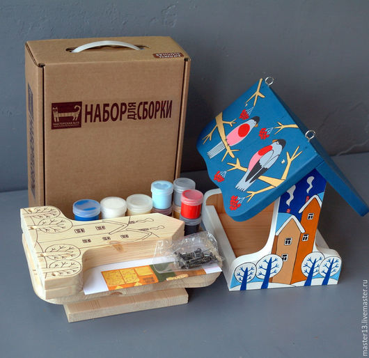"""Развивающие игрушки ручной работы. Ярмарка Мастеров - ручная работа. Купить Кормушка для птиц """"Зимняя"""" набор для сборки с контурами и красками. Handmade."""