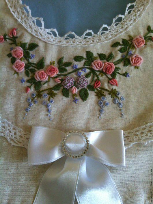 """Одежда для девочек, ручной работы. Ярмарка Мастеров - ручная работа. Купить """"Розовый сад"""" Платье для девочки. Handmade. Бежевый"""