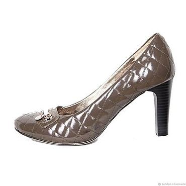 Винтаж ручной работы. Ярмарка Мастеров - ручная работа Винтаж: Размер 37, 39. Серые лаковые туфельки с отстрочкой под Chanel. Handmade.