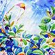 Пейзаж ручной работы. Ярмарка Мастеров - ручная работа. Купить Летний дождь. Handmade. Лето, воздушный змей, дождь, растения