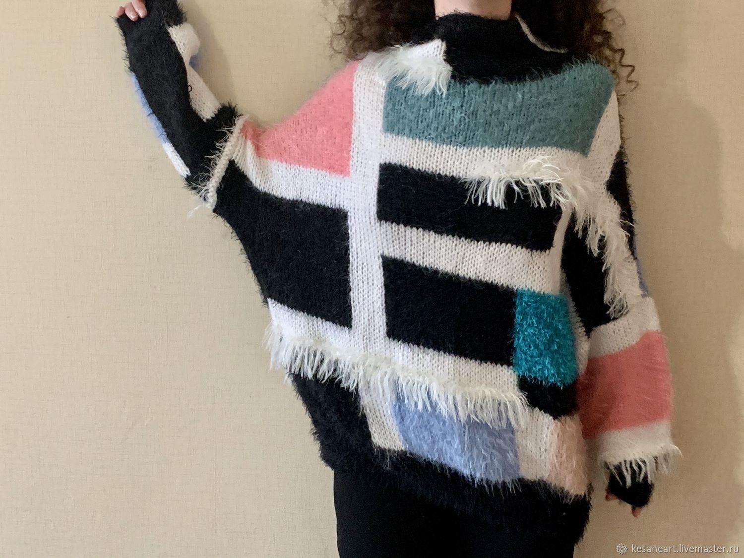 Jerseys: Hand knitted Sweater..mohair sweater colorblock, Sweaters, Tbilisi,  Фото №1