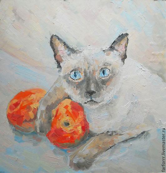 Животные ручной работы. Ярмарка Мастеров - ручная работа. Купить Картина. Кошечка и персики.... Handmade. Серый, картина кошка
