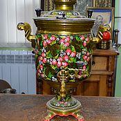 Винтаж handmade. Livemaster - original item Samovar Antique factory Stamp Tula painted 5 liters. Handmade.
