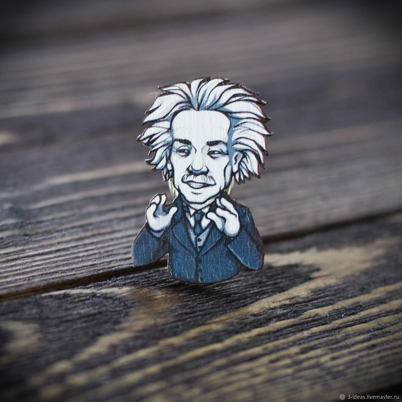 Деревянный значок Альберт Эйнштейн, Броши, Волжский, Фото №1