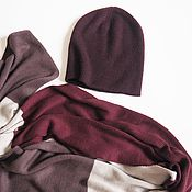 Аксессуары handmade. Livemaster - original item Caps: 100% cashmere hat maroon cashmere beanie hat. Handmade.