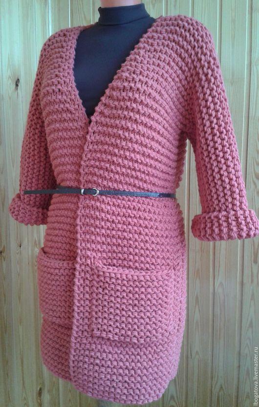 """Кофты и свитера ручной работы. Ярмарка Мастеров - ручная работа. Купить Вязаный кардиган/пальто кимоно крупной вязки """"Коралл"""". Handmade."""