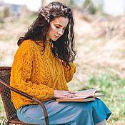 handmade. Livemaster - original item Jerseys: Women`s knitted sweater Mix oversize in yellow. Handmade.