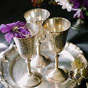 Vintage glasses handmade. Livemaster - original item Vintage beautiful silver plated engraved wine glasses. England. Handmade.