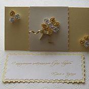 """Свадебный салон ручной работы. Ярмарка Мастеров - ручная работа Свадебная открытка-конверт """"Букет невесты-2"""". Handmade."""