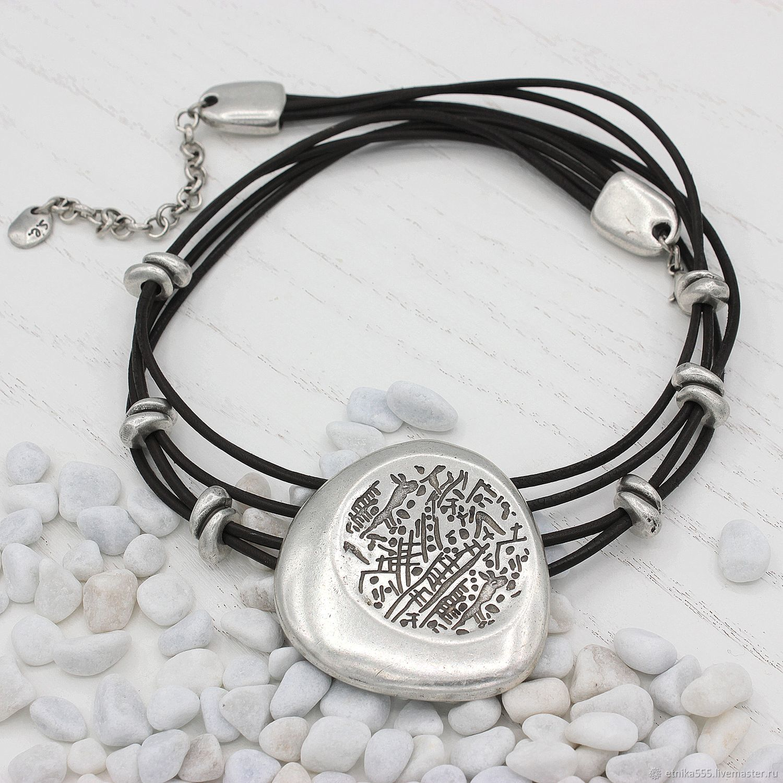 Ananta necklace on a leather string, Necklace, Belaya Cerkov,  Фото №1