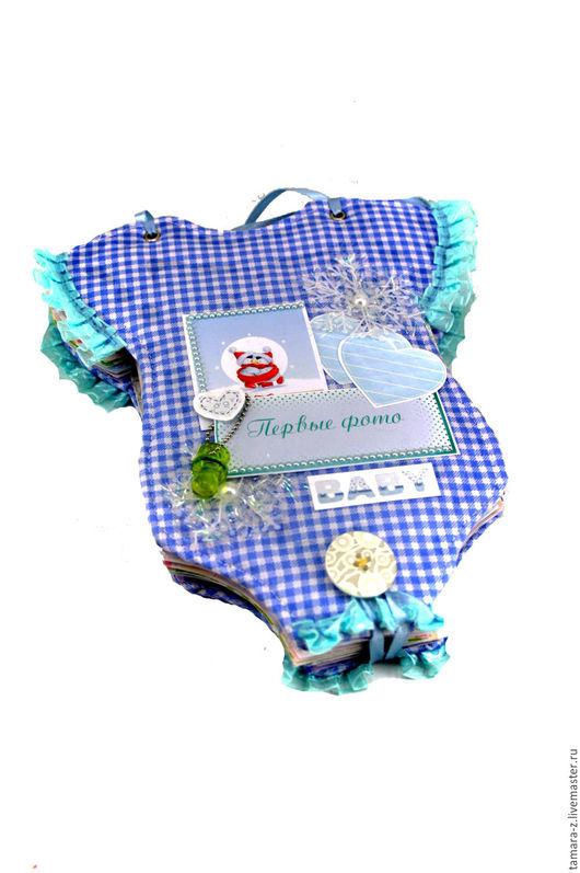 Фотоальбомы ручной работы. Ярмарка Мастеров - ручная работа. Купить фотоальбом Боди Мальчик на 70 фото для новорожденного. Handmade. Голубой