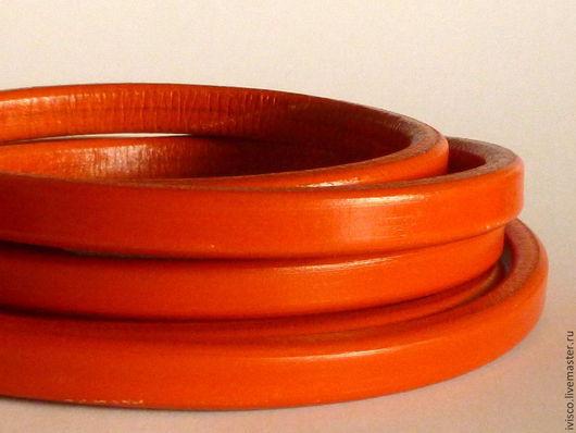 Для украшений ручной работы. Ярмарка Мастеров - ручная работа. Купить Шнур Регализ 10х6мм оранжевый. Handmade. Кожаный шнур
