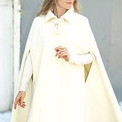 Одежда ручной работы. Ярмарка Мастеров - ручная работа Пальто кейп  из шерсти с кашемиром молочный. Handmade.