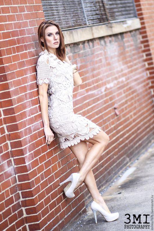 Платья ручной работы. Ярмарка Мастеров - ручная работа. Купить Платье из мотивов. Handmade. Бежевый, платье коктейльное, лучший подарок