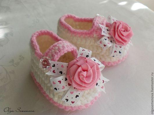 Для новорожденных, ручной работы. Ярмарка Мастеров - ручная работа. Купить Пинетки для принцессы. Handmade. Белый, однотонный, пинетки для новорожденных