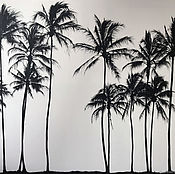 Картины и панно handmade. Livemaster - original item Painting acrylic Black palm 80h100 cm. Handmade.